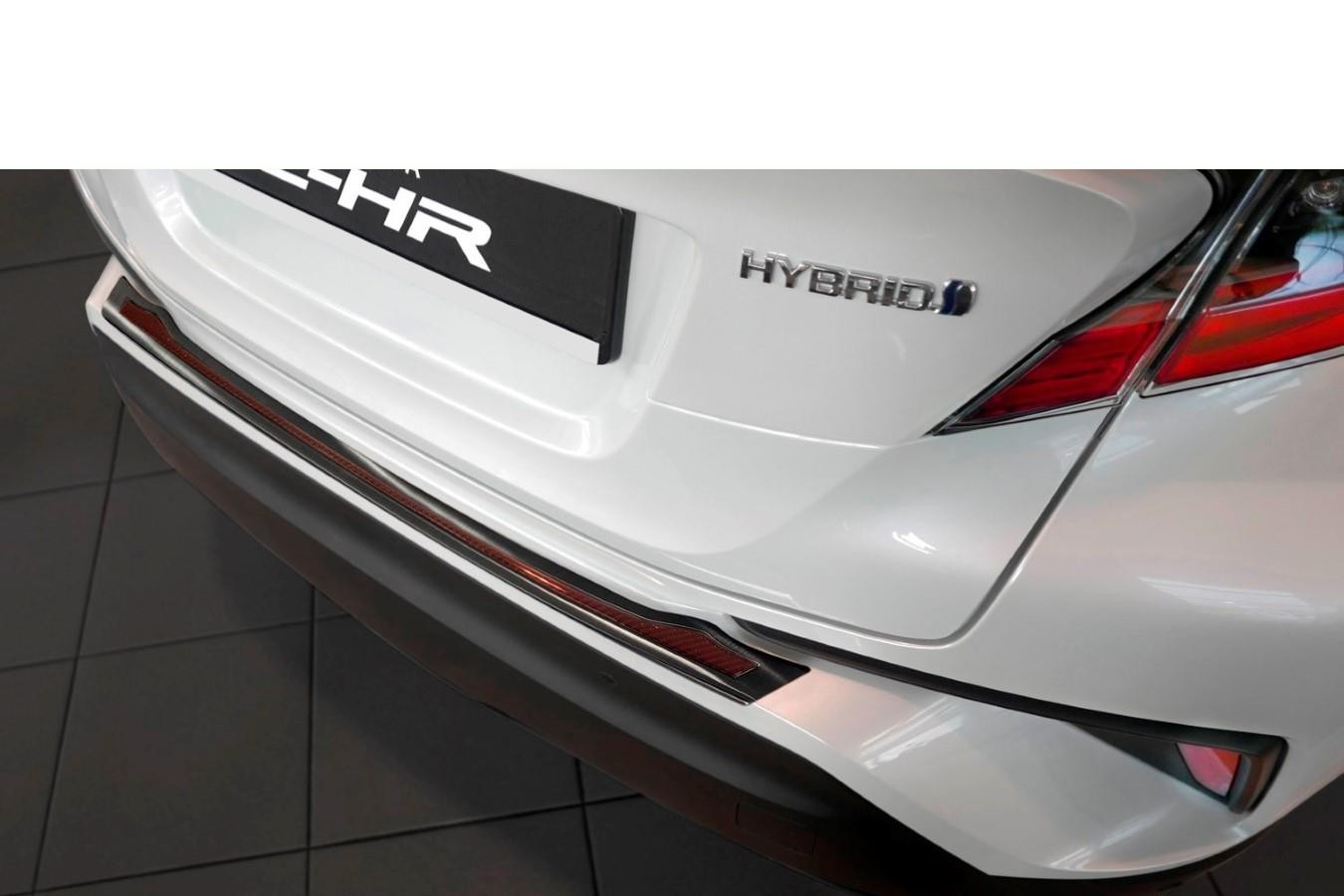 Toyota C-HR 2016-> rear bumper protector stainless steel black - carbon