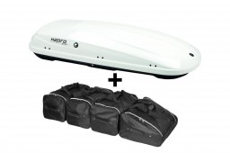 Hapro Traxer 6.6 Pure White roof box with Car-Bags.com roof box bag set (HAP25912-BB1)