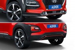 Hyundai Kona (OS) 2017-present skid plate set Piano Black with red striping (HYU1KOSPBS) (3)