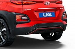 Hyundai Kona (OS) 2017-present skid plate rear Piano Black with red striping (HYU3KOSPBS) (1)